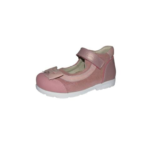 Szamos supinált pasztell rózsaszín, csillogós tavaszi bőrcipő